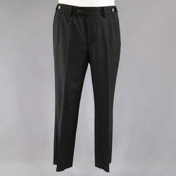 GUCCI Size 34 Black Wool Blend Side Tab Dress Pants