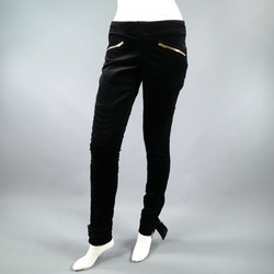 GUCCI Size 4 Black Velvet Biker Detail Gold Zip Ankle Belt Moto Pants
