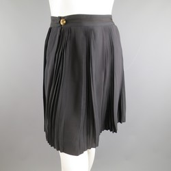 GUCCI Size 6 Black Silk Pleated Flare Skirt