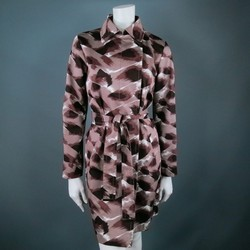 GUCCI Size 6 Taupe Cotton Marble Belted Trenchcoat
