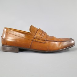 GUCCI Size 7 Tan Ombre Leather Embroidered Logo Loafers