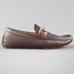 GUCCI Size 8.5 Brown Pebbled Leather Striped Horsbit Strap Driver Loafers