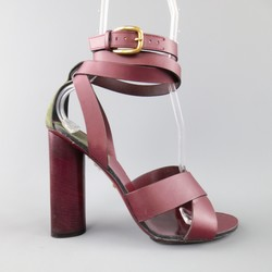GUCCI Size 9.5 Burgundy Leather Chunky Heel Wrap Strap Sandals