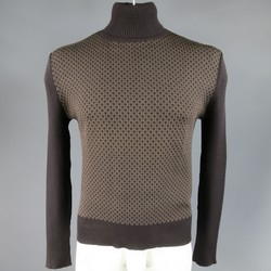 GUCCI Size L Brown Ribbed G Monogram Print Silk Turtleneck