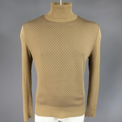 GUCCI Size L Khaki & Brown Ribbed G Monogram Print Silk Turtleneck