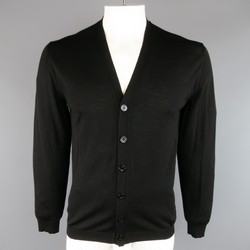 GUCCI Size L Light Weight Black Wool V Neck Cardigan