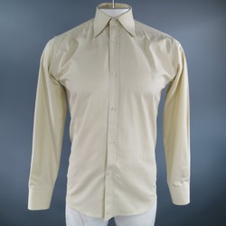 GUCCI Size S Pastel Yellow Striped Cotton Long Sleeve Shirt