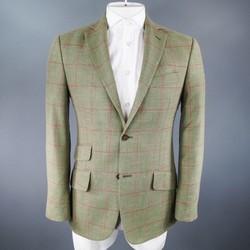 HACKETT LONDON 40 Regular Green & Red Window Pane Wool Blend Sport Coat