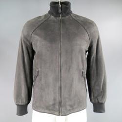 HERMES 40 Charcoal Goat Suede High Neck Zip Jacket /  Raglan Sleeves