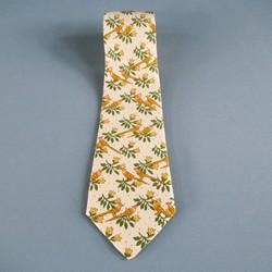 HERMES Beige Bird & Flower Print Silk Tie
