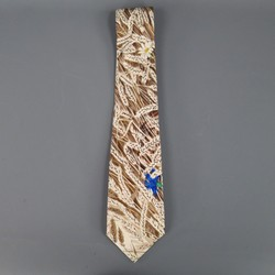 HERMES Beige Wheat Shaft Printed Silk Tie