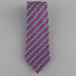HERMES Blue Burgundy & Green Abstract Sailboat Print Silk Tie