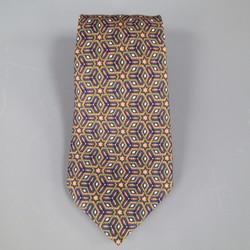 HERMES Brown & Orange Moroc Star Printed Silk Tie