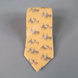 HERMES Gold Silk Tie