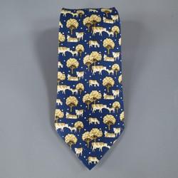 HERMES Navy & Beige Cow Print Silk Tie