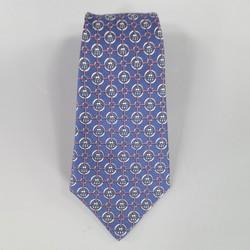 HERMES Navy & Red Nautical Hoops & Rope Mesh Print Silk Tie