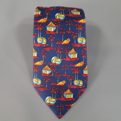 HERMES Navy & Red Tropical Island Beach Coconuts Hut Print Silk Tie