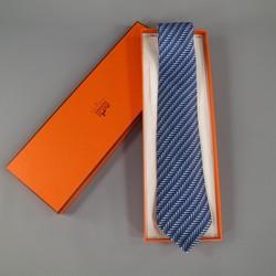 HERMES Navy Diamond Print Silk Tie