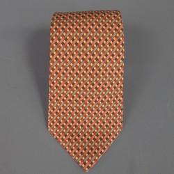 HERMES Orange Helix Spiral Printed Silk Tie