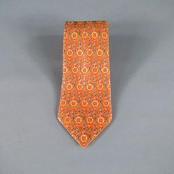 HERMES Orange Sunflower Print Silk Tie