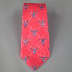 HERMES Red & Blue Medieval Warrior Print Silk Tie