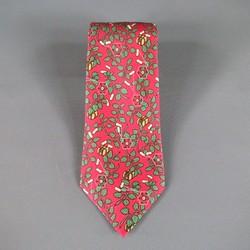 HERMES Red & Green Vine Leaf Print Silk Tie