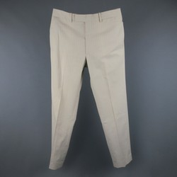 HERMES Size 32 Khaki Pintripe Cotton Dress Pants