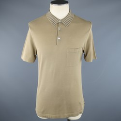 HERMES Size M Taupe Camel Pique Striped Collar Polo