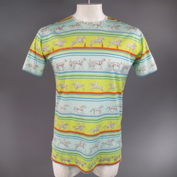 HERMES Size XL Green Blue & Orange Striped Sequences Horse Print T-shirt