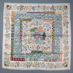 HERMES Taupe Silk 'Pique Fleuri de Provence' Scarf with Box 2013