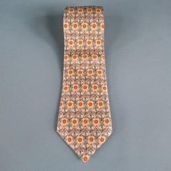 HERMES Taupe Silk Tie