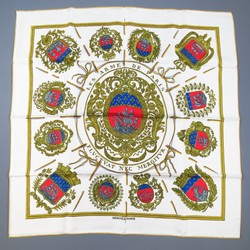 HERMES White Silk LES ARMES DE PARIS Silk Scarf