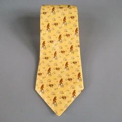 HERMES Yellow Silk Tie
