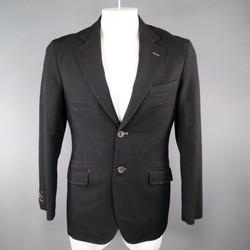 ICHO 38 Regular Black Wool Top Stitching 2 Button Sport Coat