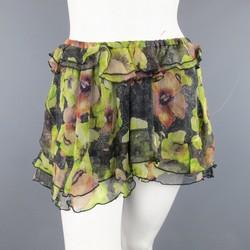 ISABEL MARANT Size 6 Black & Green Floral Print Silk Chiffon Ruffled Mini Skirt