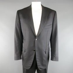 ISAIA 48 Long Charcoal & Blue Pinstripe Wool / Silk 38 34 Suit