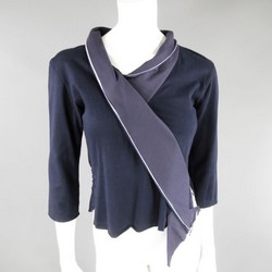 ISSEY MIYAKE Size 2 Navy Cotton Origami Wrapped Collar Top