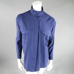 ISSEY MIYAKE Size L Blue Wool/Rayon Band Collar Patch Pocket Blouse
