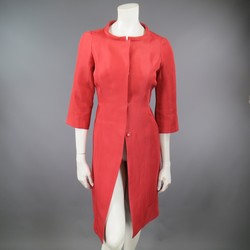 J. MENDEL Size 6 Salmon Red  Silk Hidden Snap Evening Coat