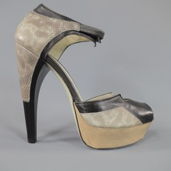 JASON WU Size 8 Black & Gray Leather Platform Snake Skin Platform Heels