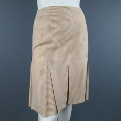 JEAN PAUL GAULTIER 6 Peach Beige & Brown Striped Rayon Silk Blend Pleated Skirt