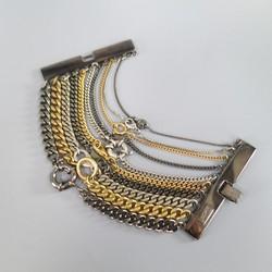 JEAN PAUL GAULTIER Silver Gold & Gunmetal Multi Chain Cuff Bracelet