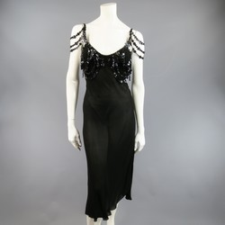 JEAN PAUL GAULTIER Size 10 Black Sheer Crepe Layered Button Strap Cocktail Dress