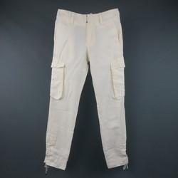 JEAN PAUL GAULTIER Size 30 Off White Linen Lace Up Leg Pants