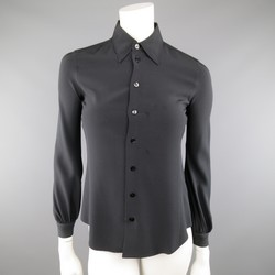 JEAN PAUL GAULTIER Size 4 Black Silk Collared Blouse