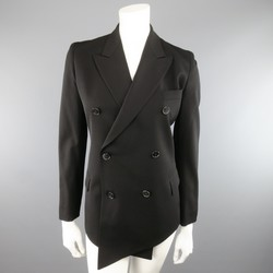 JEAN PAUL GAULTIER Size 4 Black Wool Double Breasted Peack Lapel Blazer