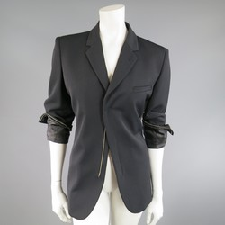 JEAN PAUL GAULTIER Size 8 Black Wool Blend Zip Cuff Sport Coat Jacket