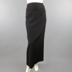 JEAN PAUL GAULTIER Size 8 Black Wool Peach Camisole Back Maxi Skirt