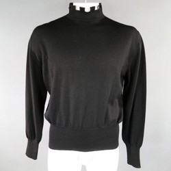 JEAN PAUL GAULTIER Size L Black Wool Embattled Mock Turtleneck Pullover