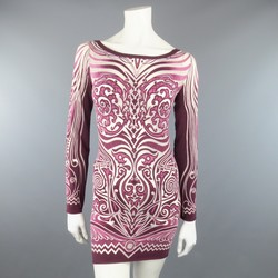 JEAN PAUL GAULTIER Size L Burgundy Sheer Opaque Tatto Print Mini Dress